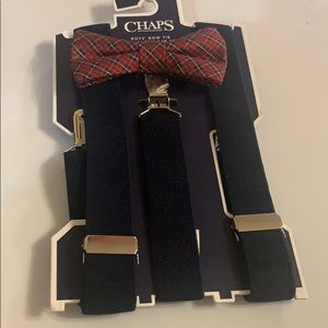 Chaps boys bow tie and suspender set. Red plaid.